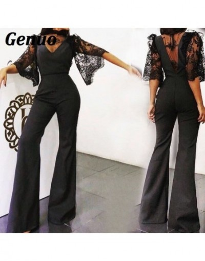 Spring Autumn Women Sexy Jumpsuit Rompers Elegant Sheer Mesh Lace Short Sleeve Party Playsuit Club Sexy Bodysuit Vestidos - ...