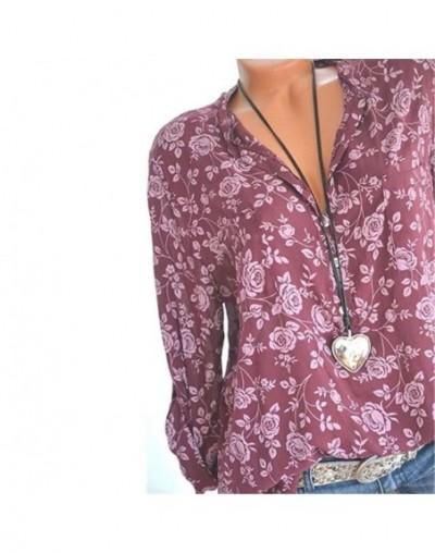 Elegant 5XL Plus Large Size Women's Blouses Summer Tops New Leisure Blouse Grey Loose Flower Print V Neck Long Sleeve Shirts...