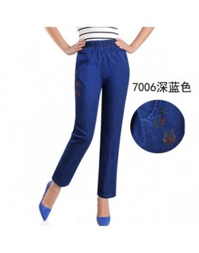 Plus Size 5XL Jeans Female 2019 Spring Summer New Embroidery Nine Denim Pants Slim High Waist Elasticity Casual Women Pants ...