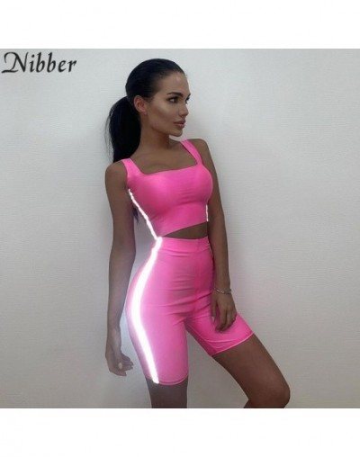 Neon color Reflective Patchwork women two pieces set 2019summer Casual crop top women shorts legging Sports jogging suit - B...