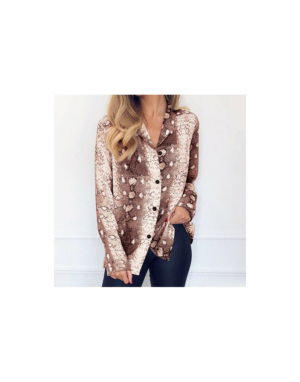 Fashion snake print Women Tops and Blouses Elegant snakeskin Chiffon Shirt Long Sleeve Ladies chemise femme Streetwear Plus ...