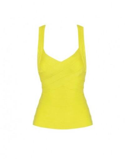 2019 New Sexy Women's Elastic Spaghetti Strap Bandage Stretch V-Neck Tight Lady Camis Vest Tank Tops - yellow - 4H3910147476-6