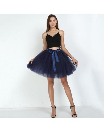 7Layered 50cm Tulle Skirts Womens 2Adult Tulle Skirt Elastic High Waist Pleated Midi Skirt 2019 Fashion Wedding Jupe - navy ...