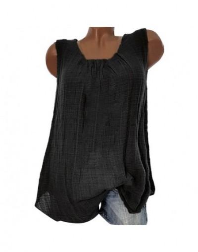 Summer top Womens Cotton Linen Sleeveless Baggy T-shirt Vest Tee Tank Tops Plus Size cropped feminino women clothes 2019 - B...