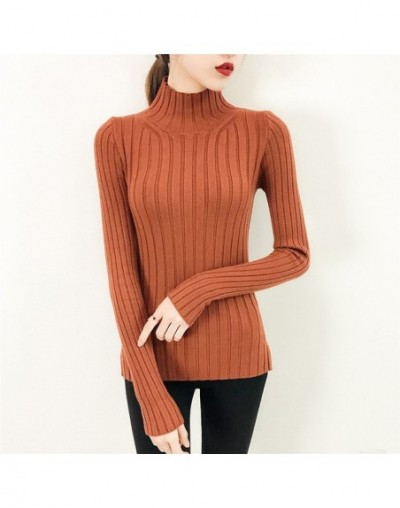 2019 White turtleneck sweater and semi small fresh female short thick slim tight long sleeved all-match knitted shirt - cara...