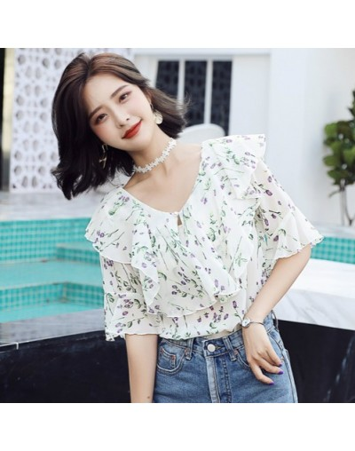 Women's 2018 new fashion chiffon custom color shirt V-neck short-sleeved ruffled floral summer shirt sweet girl shirt QV21 -...