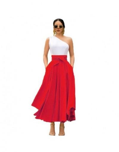 fashion new sexy high waist skirt bow waist sexy women solid skirts femme lady sexy elegant midi skirt LLY5072 - Red - 4C416...