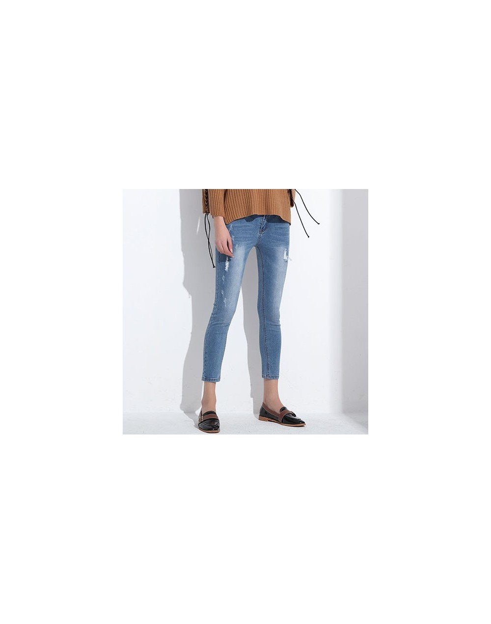 Ripped Jeans For Women Skinny Denim Capri Jeans Femme Stretch Female Jeans Vaqueros Mujer Slim Pencil Pants For Women GAREMA...