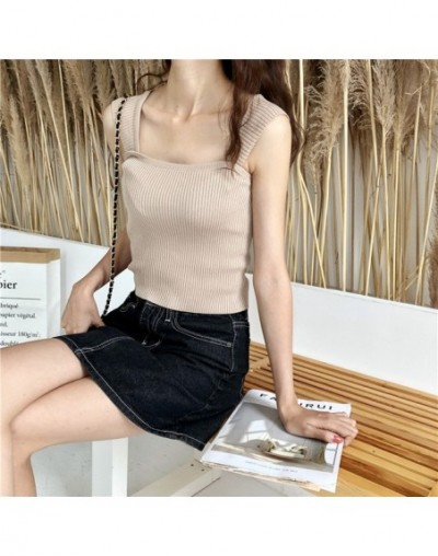 Solid Knit Cropped Camisole Top Girls Summer Slim Stretchy Knitted Tanks Crop Tops Female FL1302 - Khaki - 414119318607-4