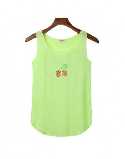 Summer Women Rhinestone Sequin Cherry Tank Top Bamboo Cotton Sleeveless Tops Shirts Ladies Elasticity Slim Vest Crop Top Tan...