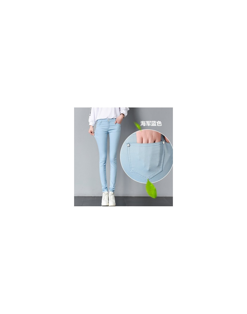 Spring sexy low rise waist denim trousers women Pure color cute Stretch Jeans female street wear washed denim skinny pencil ...