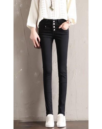 Women's trousers warm 2019 new winter pants female Slim white high waist plus velvet pencil pants women's thick pants - Blac...