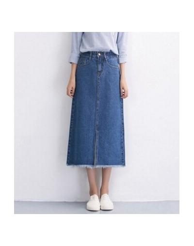 Slits a word denim skirt female 2016 new winter high waist a word length denim skirt - Blue - 493848311585-1