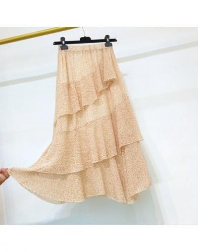 Elegant Floral Print Ruffles Women Skirt Vintage Elastic Waist Chiffon A-line Female Skirt 2019 Party Long Skirts femme - pi...