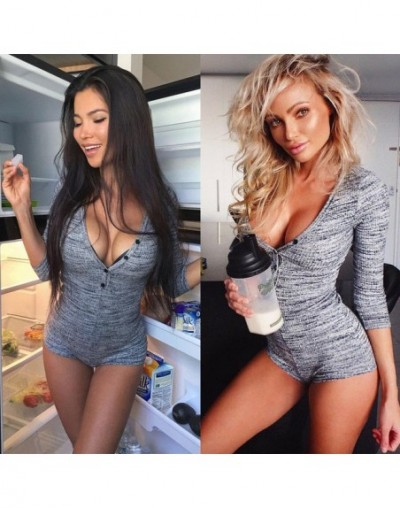 Women Sexy V Neck Cotton Bodysuit Long Sleeve Autumn Clothing Wear Sexy Slim Short Cotton Knitted Bodycon Jumpsuit - Gray - ...