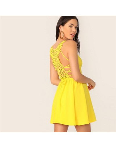 Neon Yellow Lace Up Guipure Lace Back Cami Mini Sundress Sleeveless Lace Up Solid Summer Dress A Line Beach Sexy Dress - Yel...