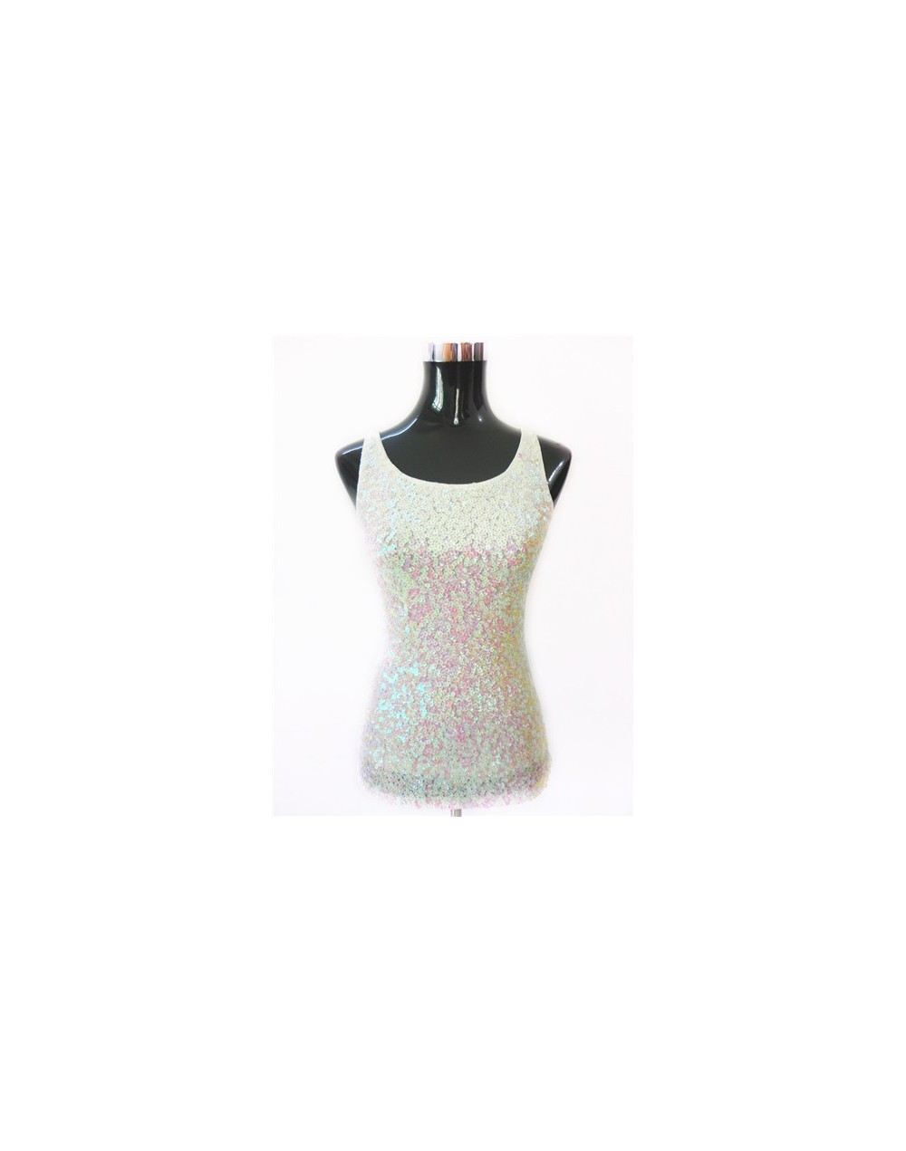 Summer Sparkle Women T-Shirt Blusa Shining Glam Embellished Sleeveless Round Neck Tank Top Sexy Vest Sequin Top With Paillet...