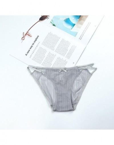 Transparent Vertical Striped Breathable Panties Hollow Out Charming Cotton Panties Women Thin Sexy Lace Gauze Low Rise Panti...