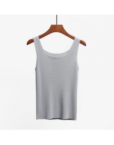 Women Fashion Slim Camisole Summer Knitting Tank Tops Female Bodycon Sleeveless camisole With Shinning Rayon Knitted - Gray ...