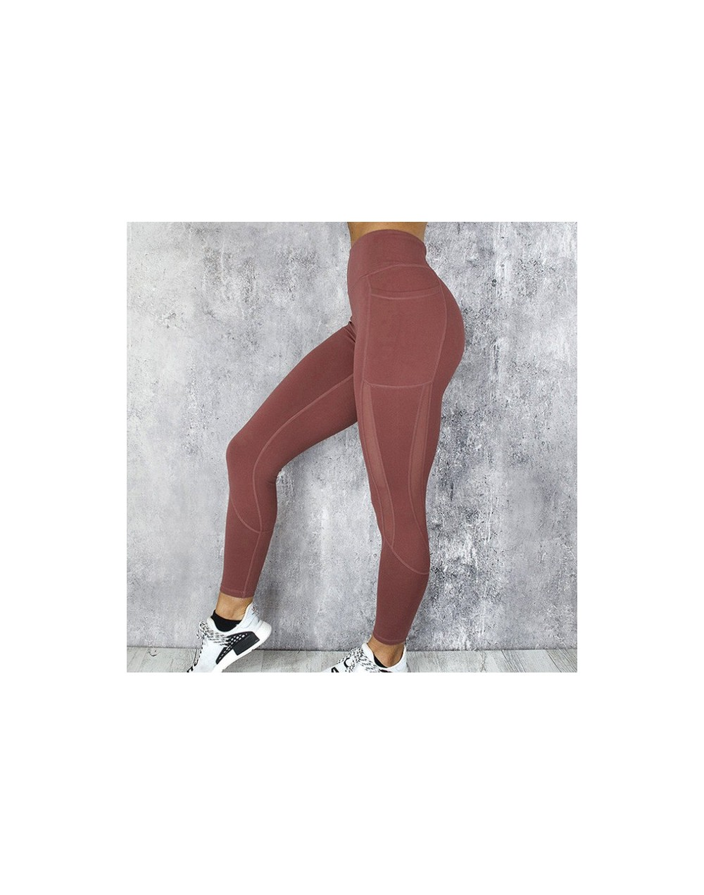 Fitness Mesh Leggings Women High Waist Push Up Leggings Mujer Solid Pocket Leggings Feminina S-Xl - Red - 4C3066472817-4