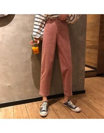 Pants Women Single Button Zipper Pockets Solid Color Simple Womens Trendy Ankle-Length Corduroy High Leisure All-match Korea...
