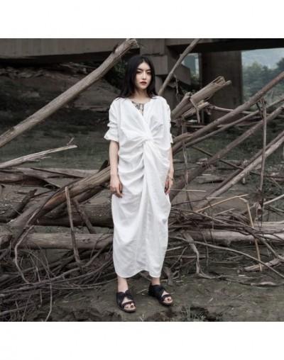 2019 New Spring Summer V-Neck Short Sleeve Fold Pleated Split Joint Loose Temperament Dress Women Fashion Tide JW523 - white...