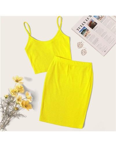 Neon Rib-Knit Crop Cami Top And Skinny Skirt Set Sexy Solid Sleeveless 2 Piece Set Spaghetti Strap Women Set - YELLOW - 4E41...