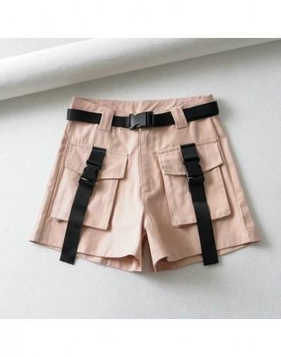 women summer cargo shorts sashes pockets decorate female casual streetwear cotton short pantalone cortos 2T03 - Pink - 4S412...