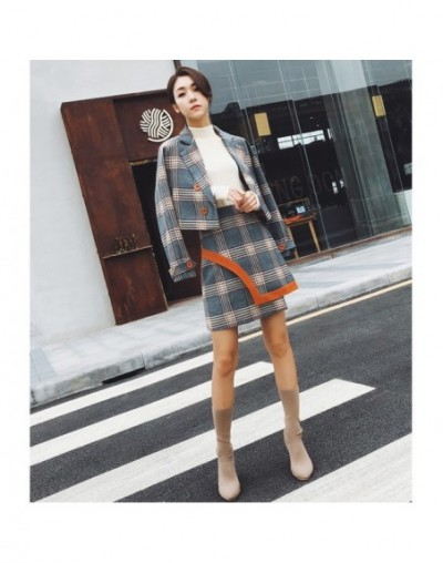 Spring Autumn Two Piece Plaid Skirt Suit Set Women Korean Style Female Set Mini Skirt And Short Jackets Double Breasted - As...