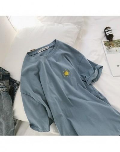 Korean cartoon Embroidery Loose basic t shirt autumn long Sleeve Simple T-shirts for Women harajuku Kawaii funny student tsh...
