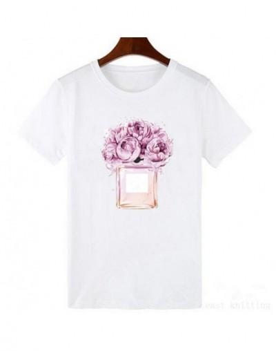 Summer female T-shirt Casual Lady Top Tees fashion T Shirt women Flower Perfume Printed Tops Tees - 104 - 454113294294-2