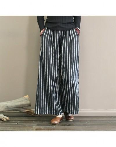 Women Striped Wide Leg Pants Autumn Linen Trouser 2019 Autumn New Elastic Waist Vintage Loose Women Clothing Pants - Black -...