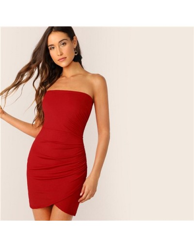 Pink Strapless Ruched Bandeau Wrap Bodycon Tube Sexy Mini Dress Women 2019 Summer Red Asymmetrical Club Party Dresses - Red ...