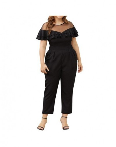 2019 HOT SALE Sexy Fashion Spring Summer Women Plus Size Mesh Stitching Ruffled Short-Sleeved Small Feet Jumpsuit AD - Black...