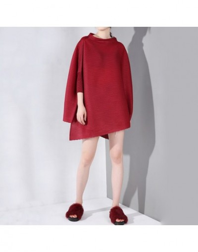 2019 New Spring Summer High Collar Three-quarter Batwing Sleeve Pleated Big Size Shirt Women Blouse Fashion Tide YH31 - red ...