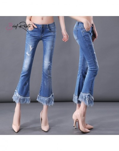 Brief Relate Women Tassel Jeans Flared Washed Pants Female Spring Autumn 2019 New Ripped Hole Thin Low-waist Pant Best Selli...