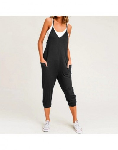 2019 Summer Women Jumpsuits Sleeveless Sexy Spaghetti Strap Rompers Casual Loose Harem Pants V-neck Oversized Playsuits - Bl...