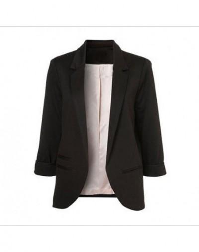 2019 Spring Autumn Slim Fit Women Formal Jackets Office Work Open Front Notched Ladies Blazer Coat Hot Sale Fashion -85 - Bl...
