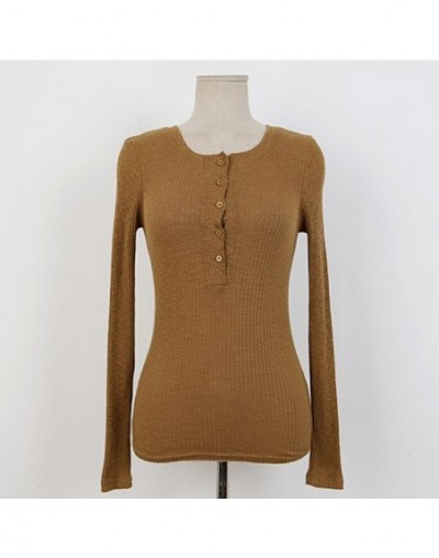 Women Sexy Solid Long-Sleeved T-Shirt Club Tight-Fitting Open Collar Button Bodycon T-Shirt O-Neck Threaded T-Shirt - Brown ...