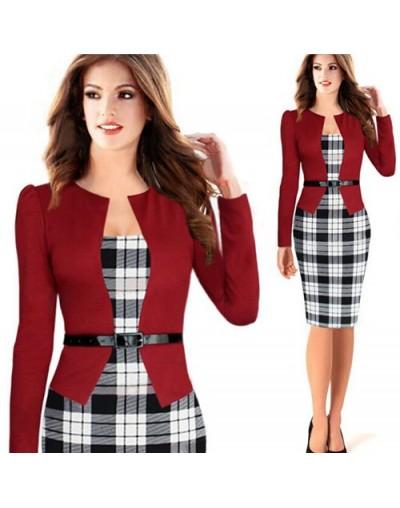 Women Office Dress Suit For Ladies Work Business Wear Formal Vintage Bodycon With Fake Blazer Jacket Belts Plus Size XXXL 4X...