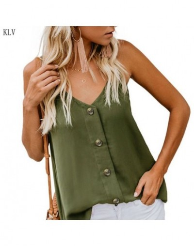 Women Summer Sleeveless Spaghetti Straps Vest Tank Top Solid Color Sexy Deep V-Neck Button Down Camisole Loose Strappy Shirt...