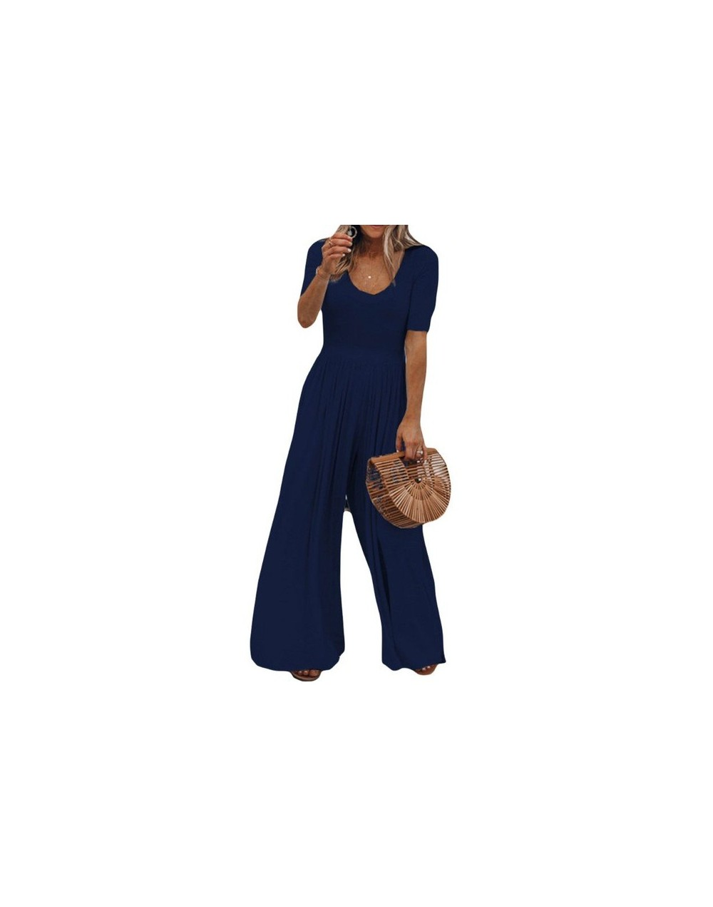2019 Women Vintage Short Sleeve Jumpsuit Summer O Neck Long Wide Leg Solid Overall Jumpsuits Romper - Blue - 404113036423-2