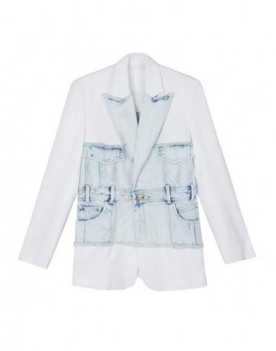 Denim Patchwork Women's Blazer Notched Collar Long Sleeve Tunic Elegant Female Jacket 2019 Fashion Autumn New - white - 5611...