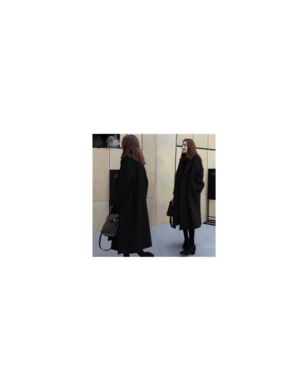 Winter Coat Women Wool Jacket Long Cotton Single Breasted Black Coats Women Outerwear Jacket Fashion Female Blends Overcoat ...