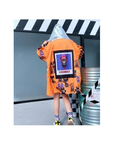 Women High Street Cartoon Printed Hooded Cardigan Big Size Casual Loose Thin Jacket BF Design Long Coat - Gold - 4Y3086879569-2