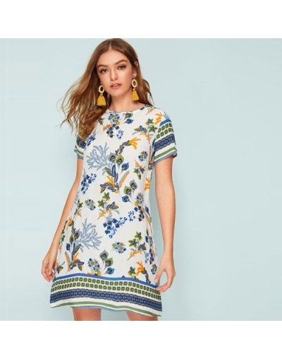 Mixed Print Keyhole Back Tunic Summer Dress Women 2019 Short Sleeve Round Neck Boho Dress Straight Loose Mini Dresses - Whit...