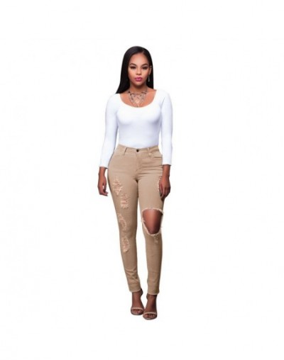 Plus Size Fashion High Waist Ripped Jeans Women Skinny Elastic Denim Pencil Pants Ladies Casual Colorful Jeans Mujer - Apric...