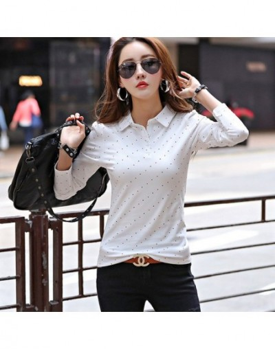 New Women Long Sleeve Polos Dots print Casual Polo Shirt girls lady lapel knit Cotton Polos spring autumn Casual Tops Tees -...