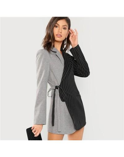 Colorblock Tie Waist Surplice Wrap Blazer Elegant Workwear Knot Notched Longline Outerwear Women Autumn OL Work Coats - Mult...