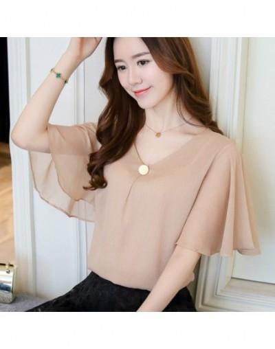2019 fashion plus size 4XL chiffon women blouse shirts tops khaki short sleeve v-neck women's clothing blouses blusas D644 3...